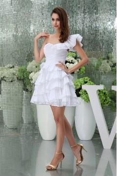 A-Line Sleeveless One-Shoulder Best Short White Bridesmaid Dresses 02010386