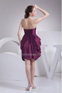 Short/Mini Taffeta Strapless Sleeveless Short Bridesmaid Dresses 02010388