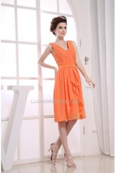 A-Line Pleats Illusion Sleeves Knee-Length V-Neck Short Chiffon Bridesmaid Dresses 02010389