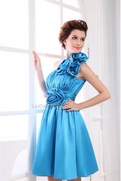 One-Shoulder Sleeveless Silk like Satin Short Blue Bridesmaid Dresses 02010390