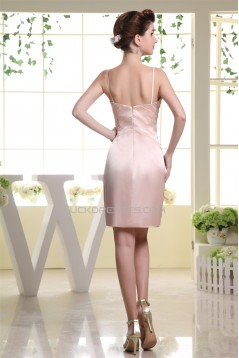 V-Neck Beading Elastic Woven Satin Sheath/Column Short Bridesmaid Dresses 02010392