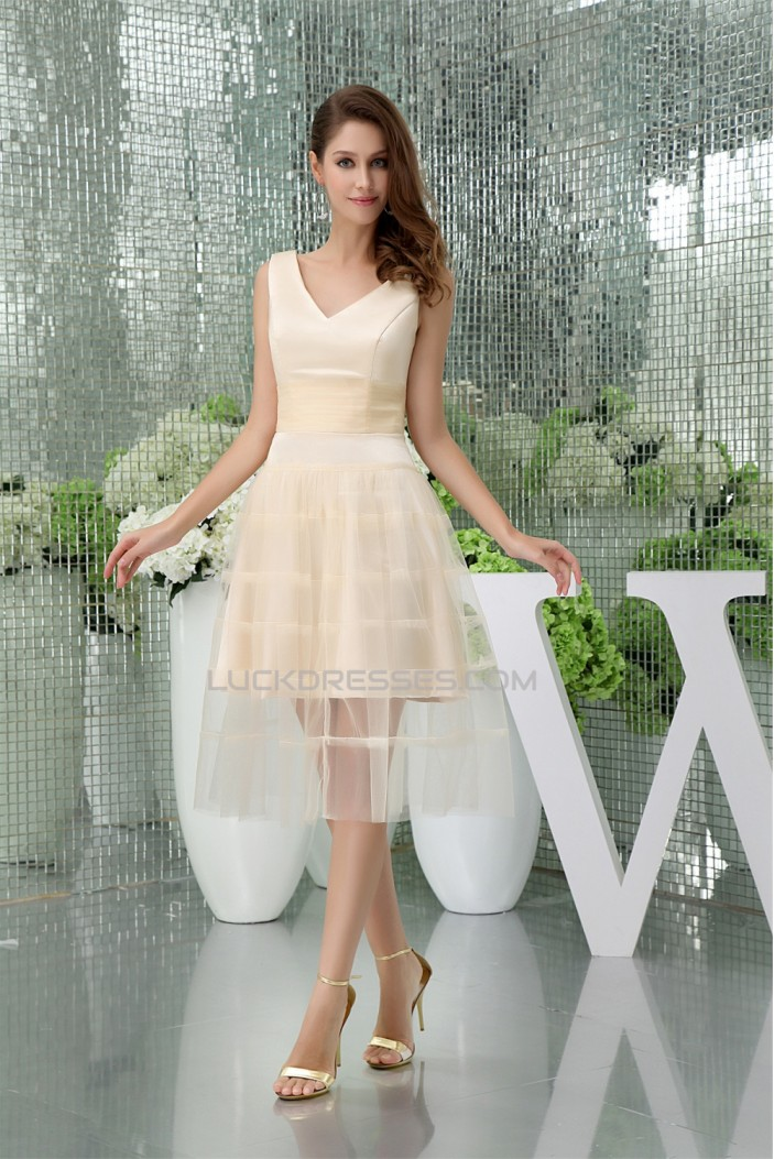 A-Line Tea Length V-Neck Fine Netting Sleeveless Bridesmaid Dresses  02010393