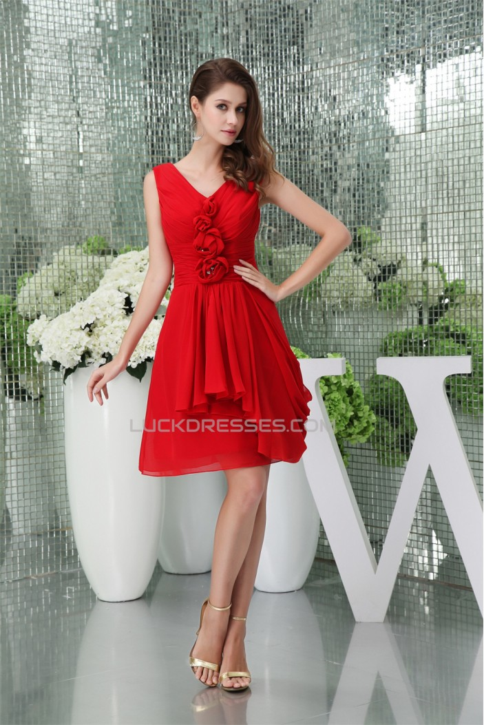 Affordable V-Neck Ruffles Knee-Length Short Red Chiffon Bridesmaid Dresses 02010394
