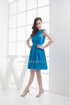 V-Neck Silk like Satin Fine Netting Sleeveless Bridesmaid Dresses 02010395