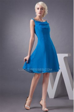 A-Line Knee-Length Short Blue Chiffon Beading Best Bridesmaid Dresses 02010398