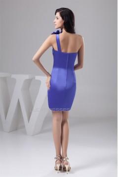 Beading One-Shoulder Short/Mini Sleeveless Bridesmaid Dresses 02010401