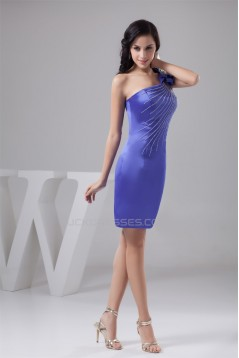 Beading One-Shoulder Short/Mini Sleeveless Bridesmaid Dresses 02010401