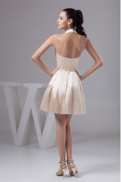 Beautiful Knee-Length Halter Silk like Satin Pleats Bridesmaid Dresses 02010403