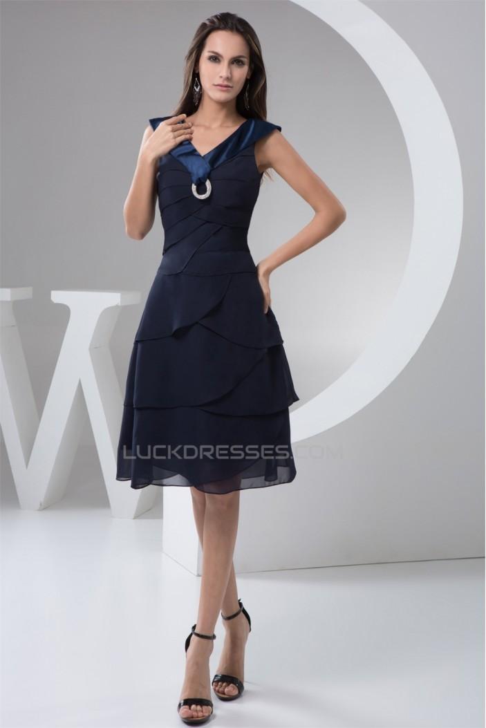 Chiffon Knee-Length Sleeveless V-Neck A-Line Bridesmaid Dresses 02010405