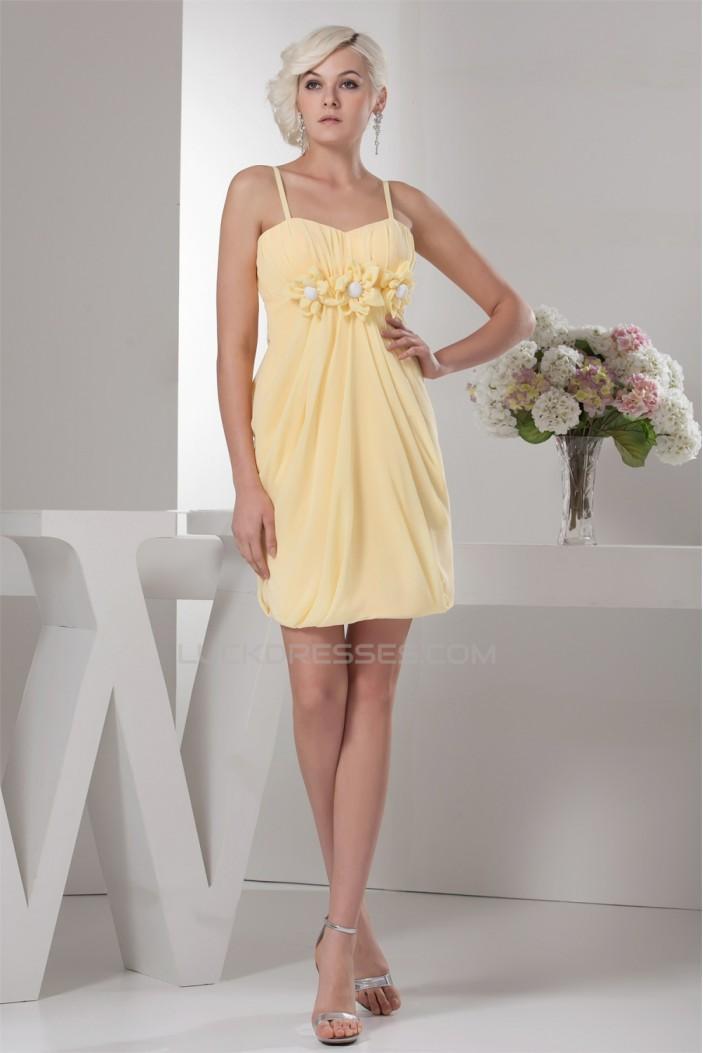Chiffon Spaghetti Straps Short Yellow Bridesmaid Dresses 02010407
