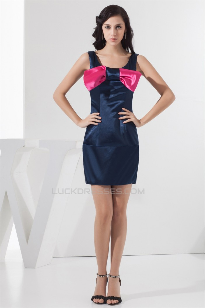 Fantastic Bows Scoop Short/Mini Sheath/Column Bridesmaid Dresses 02010408