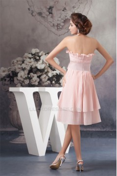 A-Line Handmade Flowers Chiffon Strapless Short Bridesmaid Dresses 02010410