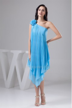 Handmade Flowers Ruffled Chiffon Short Blue Bridesmaid Dresses 02010412