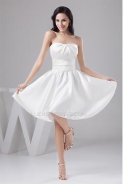 A-Line Knee-Length Short Satin Soft Sweetheart Bridesmaid Dresses 02010416