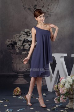 Knee-Length Sleeveless One-Shoulder Beading Short Bridesmaid Dresses 02010417