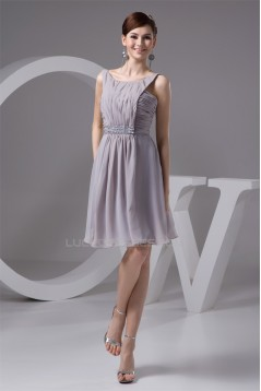 Knee-Length Spaghetti Straps Chiffon Short Bridesmaid Dresses 02010418