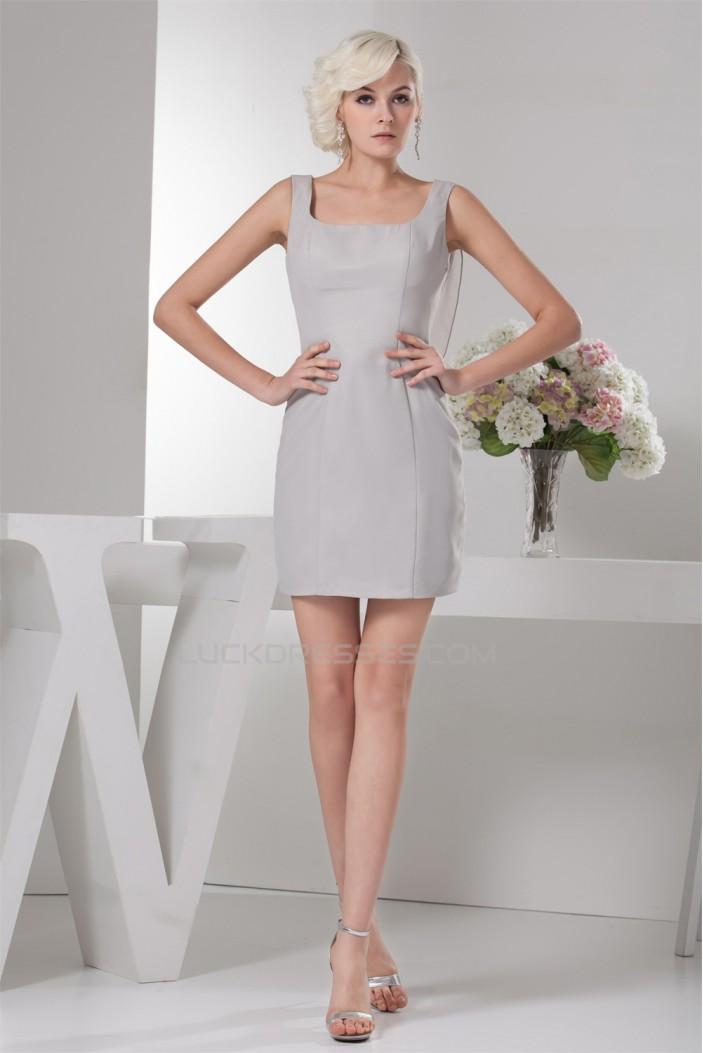 Pleats Chiffon Straps Sheath/Column Short Bridesmaid Dresses 02010419