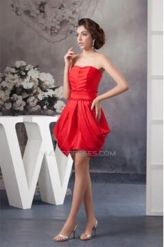 Ruffles Sleeveless Sweetheart Short Red Bridesmaid Dresses 02010420