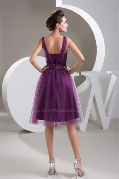 Satin Fine Netting V-Neck Knee-Length Short Purple Bridesmaid Dresses 02010421