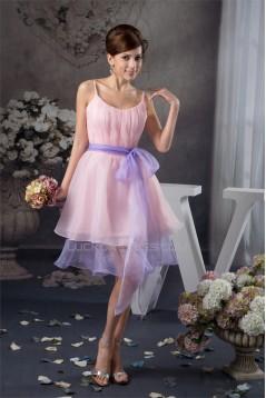 Ruffles Scoop Sleeveless Knee-Length Short Pink Bridesmaid Dresses 02010422