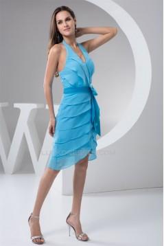 Sheath/Column Sleeveless Beading Knee-Length Short Blue Bridesmaid Dresses 02010423