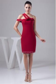 Sheath/Column Sleeveless Chiffon One-Shoulder Short Bridesmaid Dresses 02010424