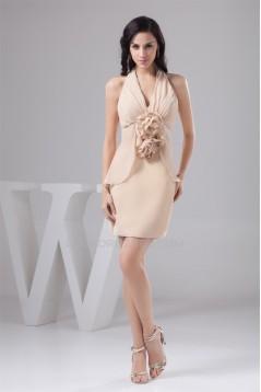 Short/Mini Handmade Flowers Chiffon Short Bridesmaid Dresses 02010425