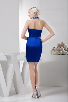 Short/Mini Sheath/Column Beading Halter Short Royal Blue Bridesmaid Dresses 02010427