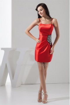 Silk like Satin Short/Mini Spaghetti Straps Short Bridesmaid Dresses 02010430