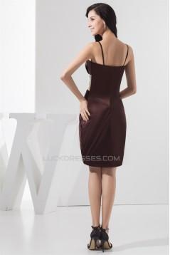 Sleeveless Chiffon Silk like Satin Spaghetti Straps Short Bridesmaid Dresses 02010433