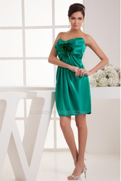 Sleeveless Handmade Flowers Elastic Woven Satin Short Green Bridesmaid Dresses 02010435