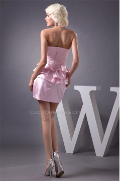 Sleeveless Handmade Flowers Short/Mini Pink Bridesmaid Dresses 02010436
