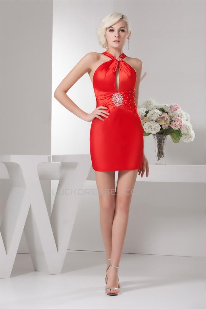 Sleeveless Satin Silk like Satin Beading Short Red Bridesmaid Dresses 02010438