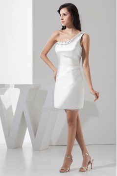 Sleeveless Satin One-Shoulder Short White Bridesmaid Dresses 02010439