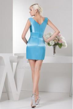 Sleeveless V-Neck Beaded Short Blue Bridesmaid Dresses 02010440
