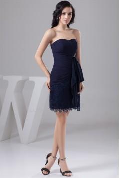 Soft Sweetheart Short/Mini Lace and Chiffon Sleeveless Best Short Navy Blue Bridesmaid Dresses 02010441