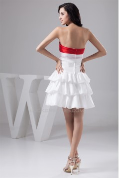 Strapless A-Line Handmade Flowers Taffeta Short Bridesmaid Dresses 02010442