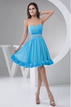 A-Line Sweetheart Beaded Short Blue Chiffon Bridesmaid Dresses 02010444