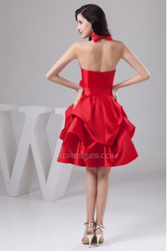 Taffeta Bows Halter A-Line Knee-Length Short Red Bridesmaid Dresses 02010446