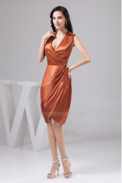 V-Neck Knee-Length Silk like Satin Sheath/Column Short Bridesmaid Dresses 02010448