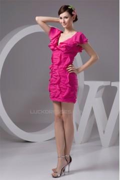 V-Neck Pleats Sleeveless Sheath/Column Bridesmaid Dresses 02010449