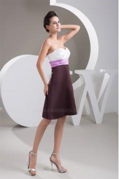 A-Line Sweetheart Criss Cross Knee-Length Short Satin Bridesmaid Dresses 02010450