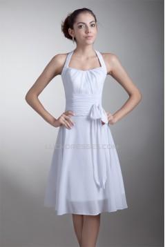 A-Line Knee-Length Chiffon Halter Short White Bridesmaid Dresses 02010453