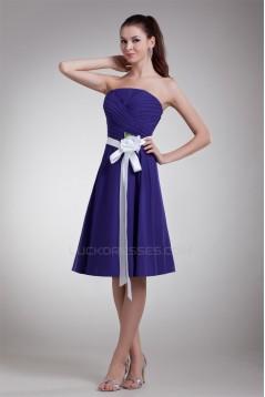 A-Line Knee-Length Strapless Sleeveless Best Short Bridesmaid Dresses 02010454