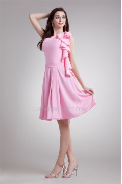 A-Line One-Shoulder Ruffles Knee-Length Short Pink Bridesmaid Dresses 02010455