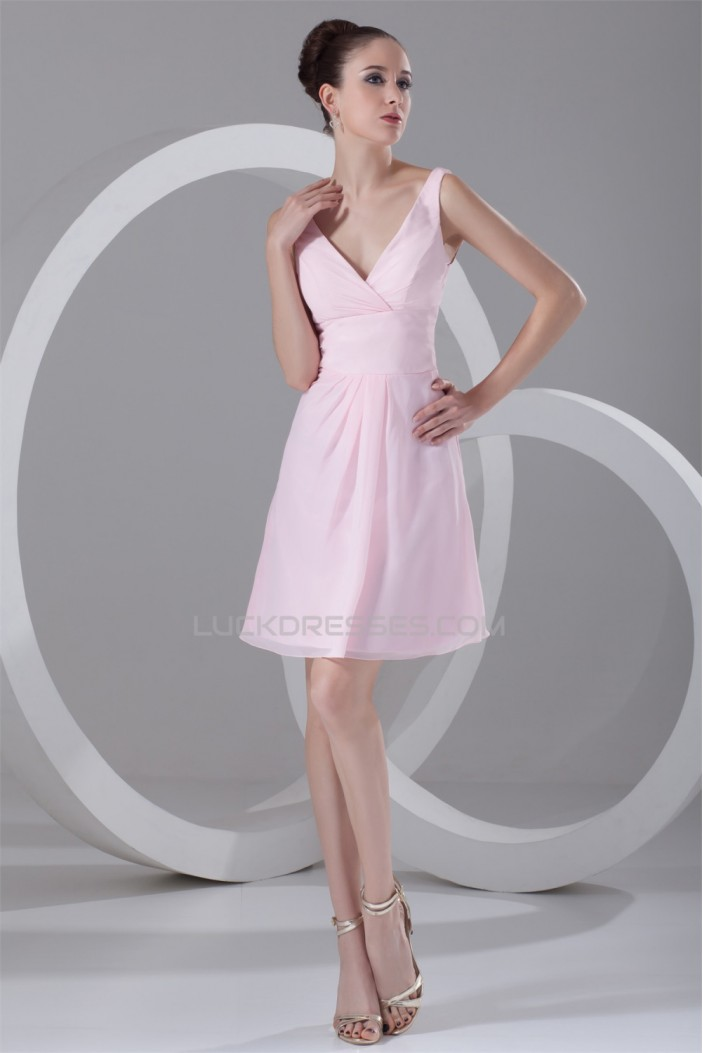 A-Line Ruffles Short/Mini Sleeveless V-Neck Best Short Pink Bridesmaid Dresses 02010456
