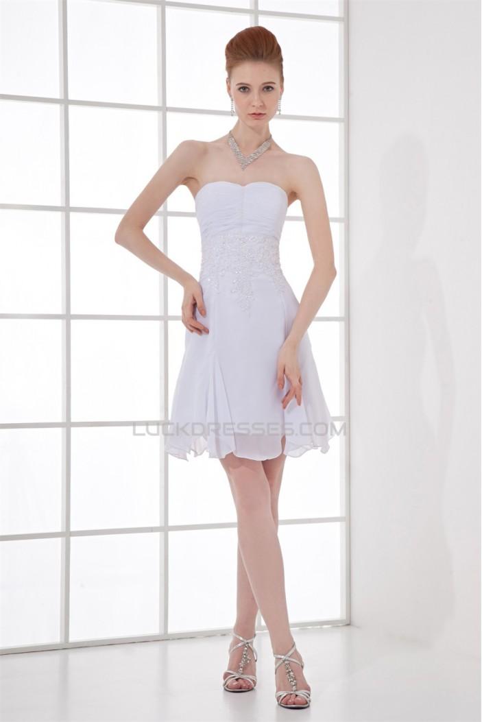 A-Line Sleeveless Pleats Strapless Chiffon Short White Bridesmaid Dresses 02010457