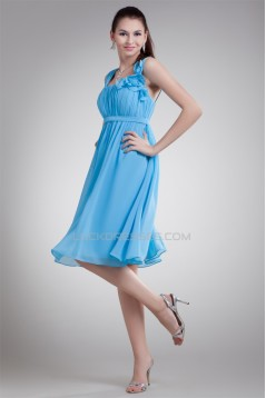 A-Line Straps Chiffon Short Blue Bridesmaid Dresses Maternity Dresses 02010458