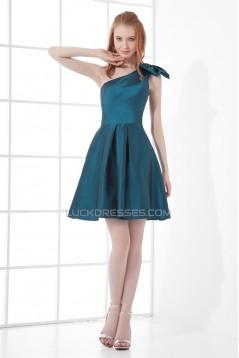 Bows One-Shoulder Short/Mini A-Line Sleeveless Bridesmaid Dresses 02010463