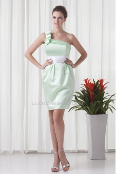 Bows Sleeveless Satin Sheath/Column Short/Mini One-Shoulder Bridesmaid Dresses 02010466